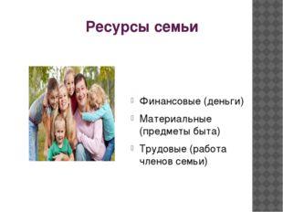 Ресурсы семьи Финансовые (деньги) Материальные (предметы быта) Трудовые (рабо