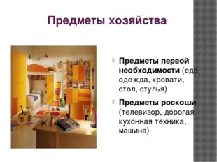 Предметы хозяйства Предметы первой необходимости (еда, одежда, кровати, стол,