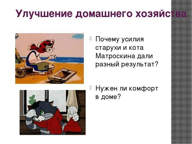 Улучшение домашнего хозяйства Почему усилия старухи и кота Матроскина дали ра...