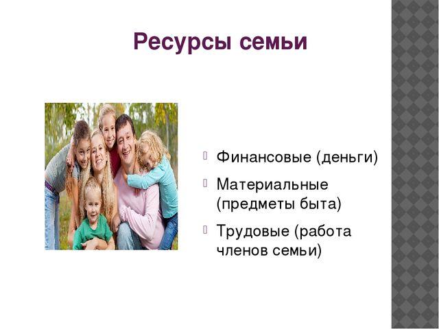 Ресурсы семьи Финансовые (деньги) Материальные (предметы быта) Трудовые (рабо...