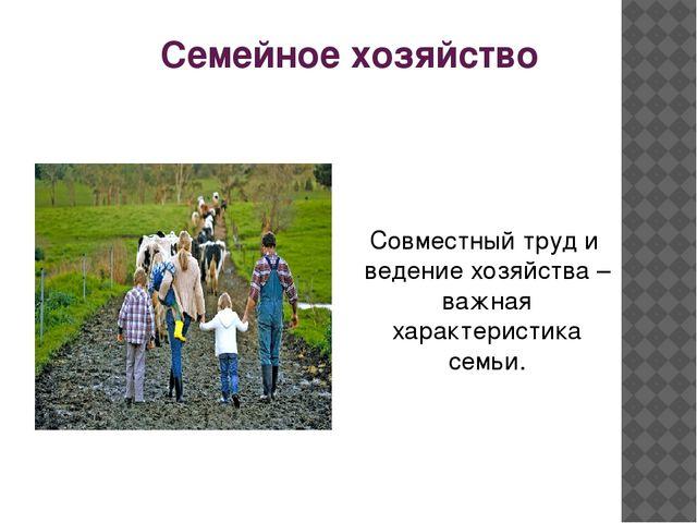 Семейное хозяйство Совместный труд и ведение хозяйства – важная характеристик...