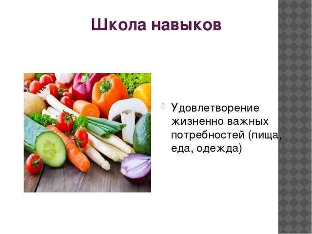 Школа навыков Удовлетворение жизненно важных потребностей (пища, еда, одежда)