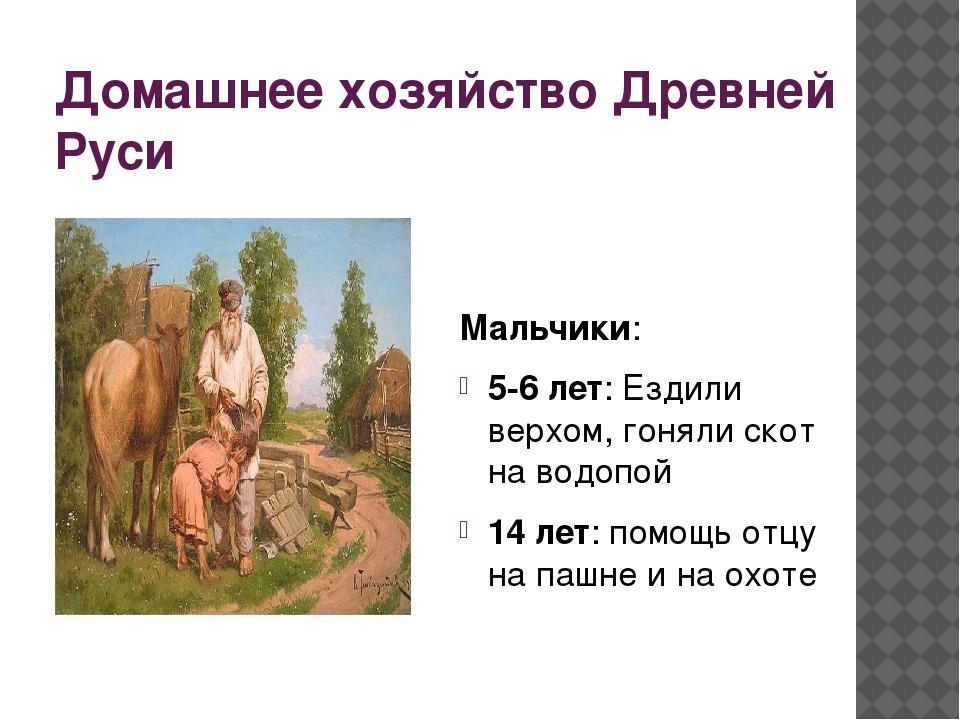 Домашнее хозяйство Древней Руси Мальчики: 5-6 лет: Ездили верхом, гоняли скот...