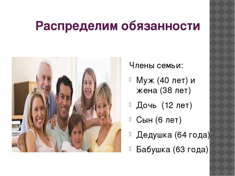 Распределим обязанности Члены семьи: Муж (40 лет) и жена (38 лет) Дочь (12 ле...