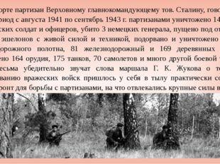 В рапорте партизан Верховному главнокомандующему тов. Сталину, говорилось, чт