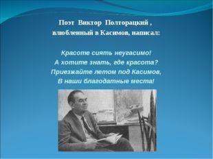 Поэт Виктор Полторацкий , влюбленный в Касимов, написал: Красоте сиять неугас