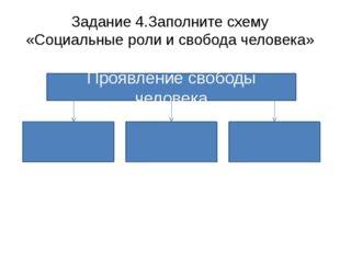 Задание 4.Заполните схему «Социальные роли и свобода человека» Проявление сво