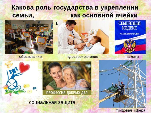 Какова роль государства в укреплении семьи, как основной ячейки общества? соц...