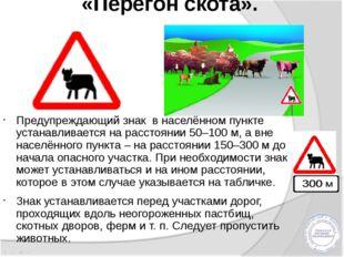 «Перегон скота». Предупреждающий знак в населённом пункте устанавливается на