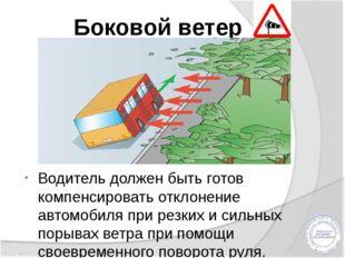 Боковой ветер Водитель должен быть готов компенсировать отклонение автомобиля