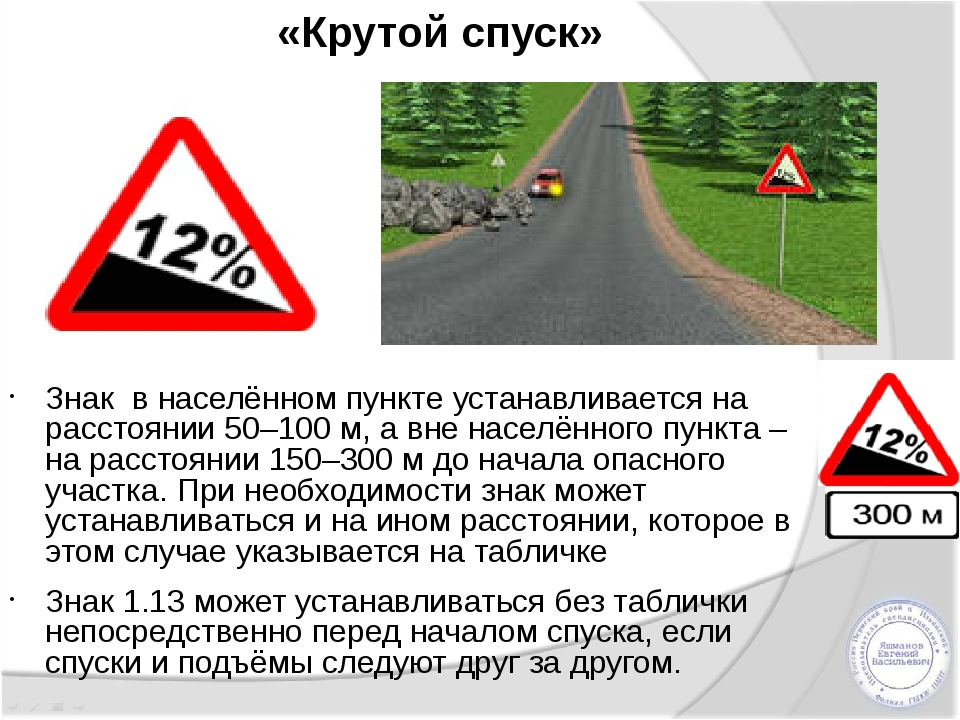 «Крутой спуск» Знак в населённом пункте устанавливается на расстоянии 50–100...