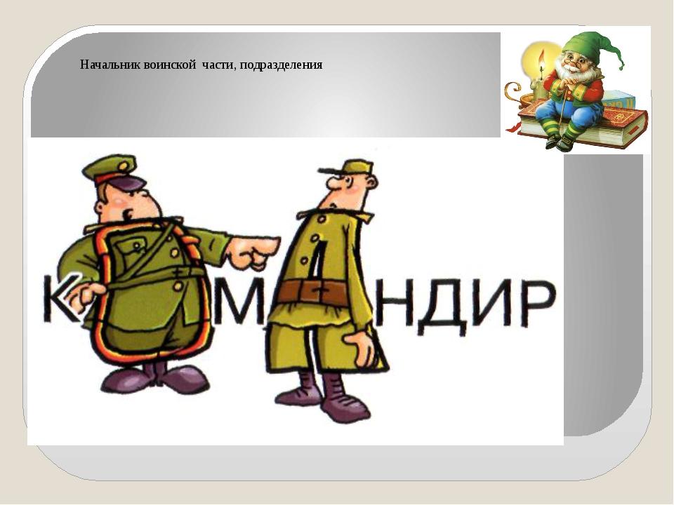 Начальник воинской части, подразделения