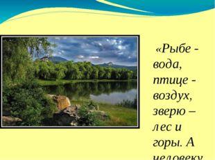 «Рыбе - вода, птице - воздух, зверю – лес и горы. А человеку нужна Родина.»