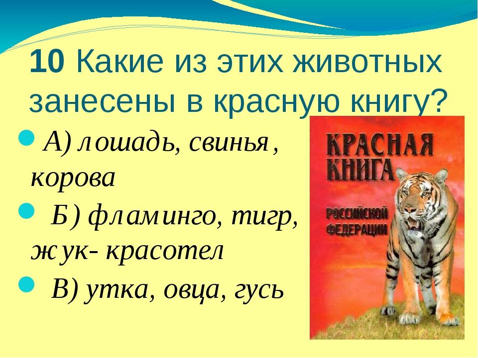10 Какие из этих животных занесены в красную книгу? А) лошадь, свинья, корова...