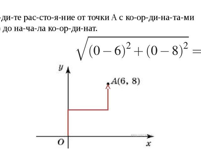 Найдите расстояние от точкиAс координатами (6; 8) до начала ко...