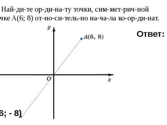 7) Найдите ординату точки, симметричной точкеA(6; 8) относительн...