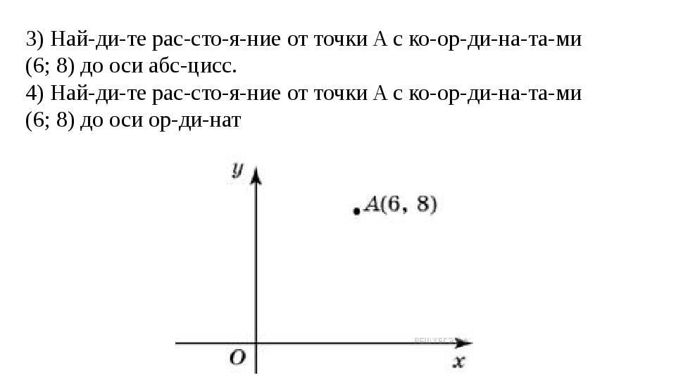 3) Найдите расстояние от точкиAс координатами (6; 8) до оси абсц...