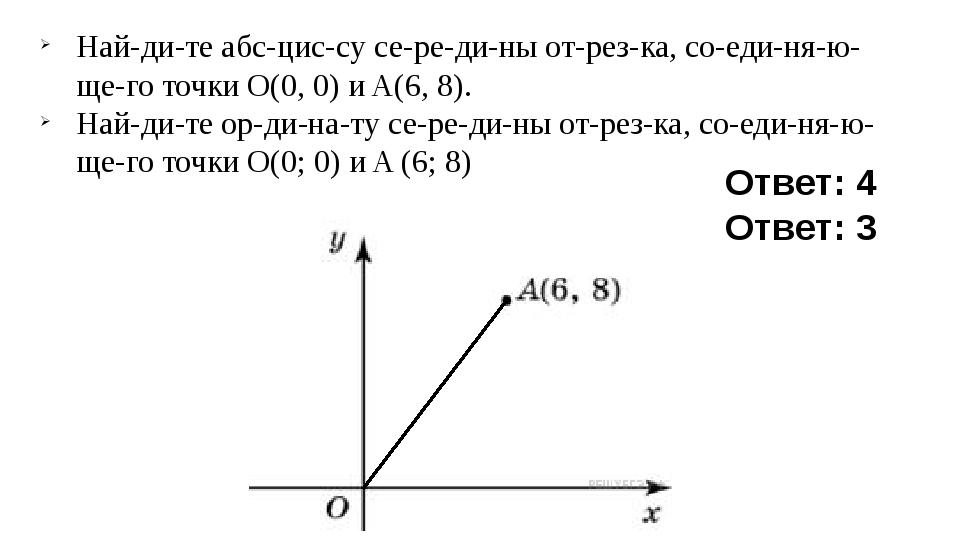 Найдите абсциссу середины отрезка, соединяющего точки O(0, 0) и...