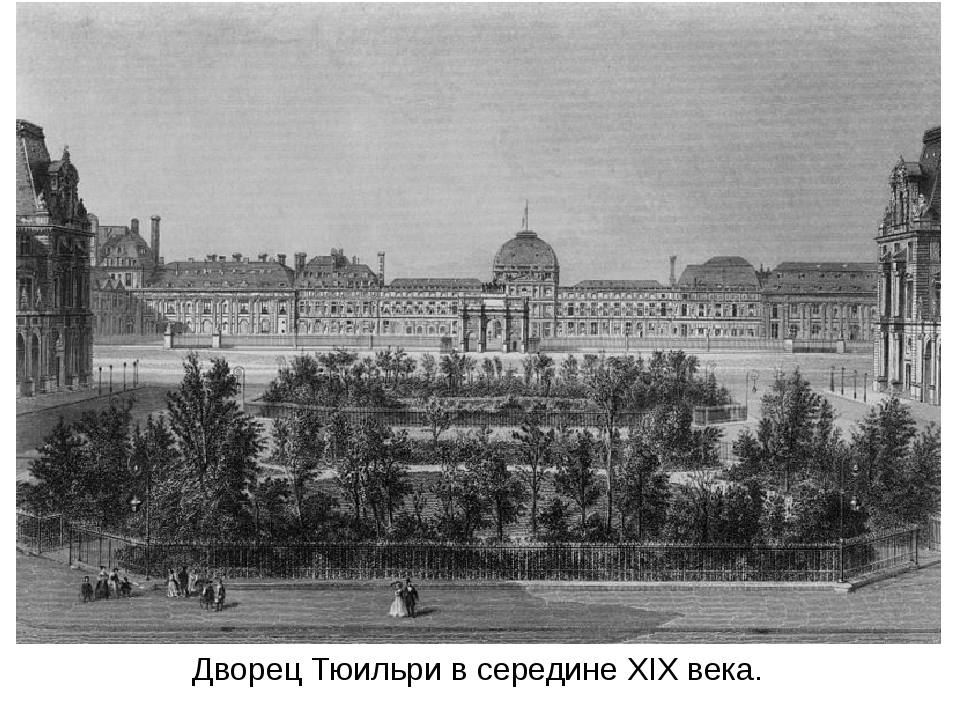 Дворец Тюильри в середине XIX века.