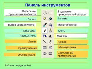 Выделение произвольной области Выбор цвета (пипетка) Ластик Карандаш Распылит