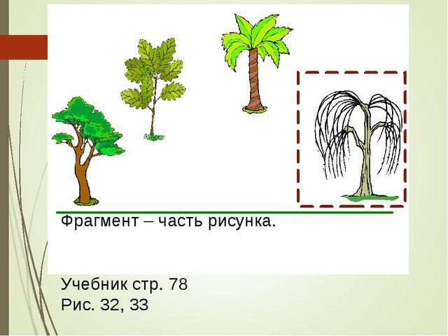 Фрагмент – часть рисунка. Учебник стр. 78 Рис. 32, 33