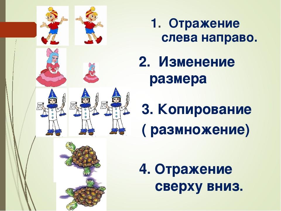 1. Отражение слева направо. 2. Изменение размера Копирование ( размножение) 4...
