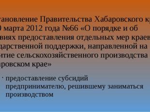 Постановление Правительства Хабаровского края от 20 марта 2012 года №66 «О по
