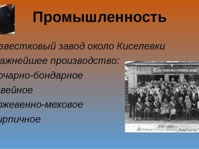 Промышленность Известковый завод около Киселевки Важнейшее производство: боча...