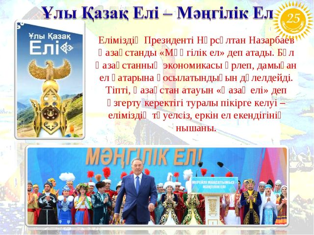 Еліміздің Президенті Нұрсұлтан Назарбаев Қазақстанды «Мәңгілік ел» деп атады....
