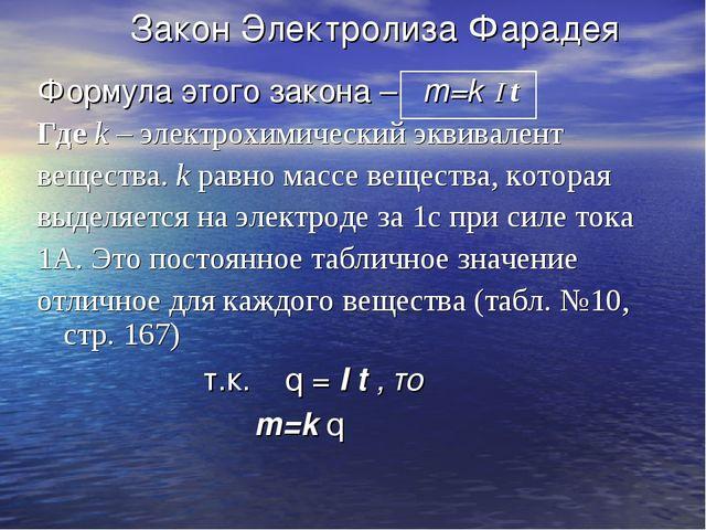 Закон Электролиза Фарадея Формула этого закона – m=k I t Где k – электрохими...