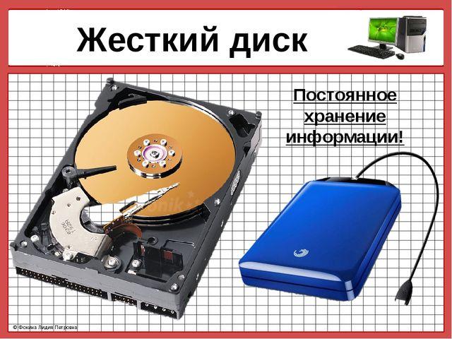 Жесткий диск Постоянное хранение информации! © Фокина Лидия Петровна © Фокин...