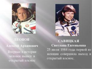 ЛЕОНОВ Алексей Архипович Впервые в истории человек вышел в открытый космос СА