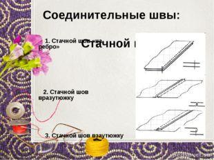 Соединительные швы: Стачной шов 1. Стачной шов «на ребро» 2. Стачной шов вра