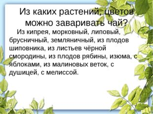 Из каких растений, цветов можно заваривать чай? Из кипрея, морковный, липовы