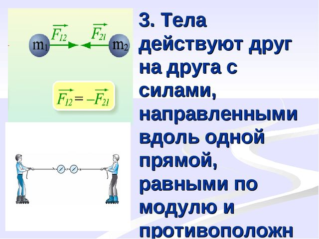 3. Тела действуют друг на друга с силами, направленными вдоль одной прямой, р...