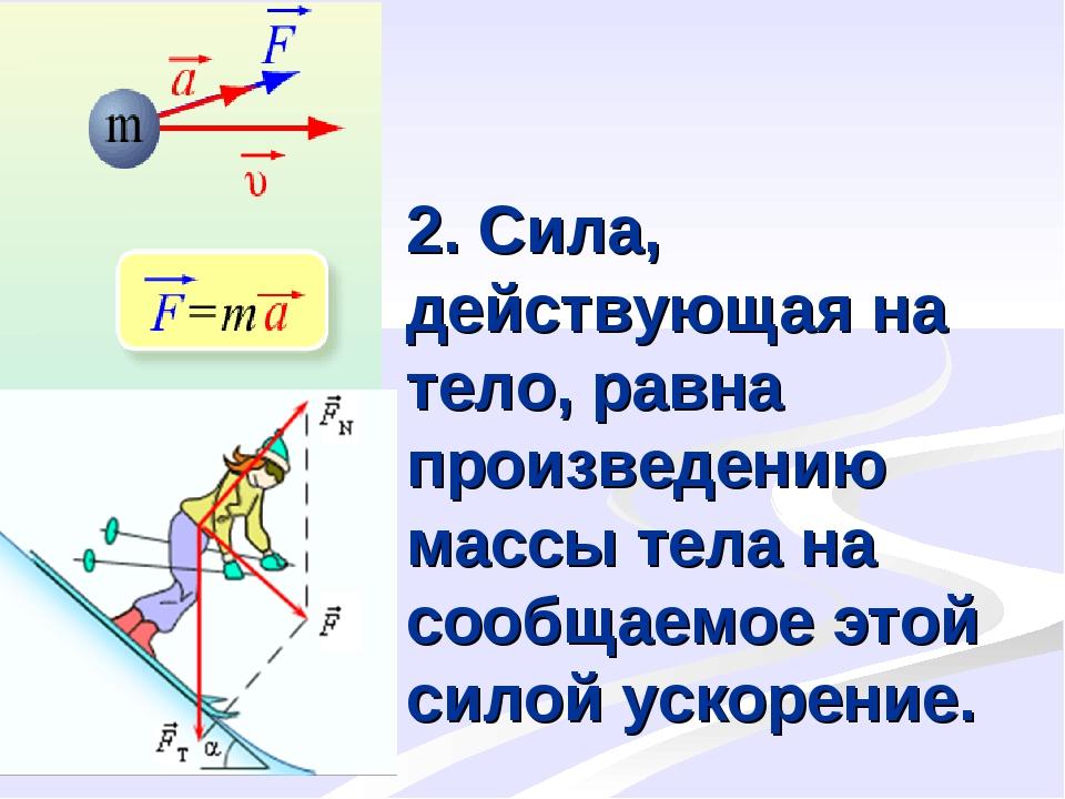 2. Сила, действующая на тело, равна произведению массы тела на сообщаемое это...