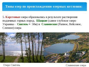 Типы озер по происхождению озерных котловин: 5.Карстовыеозераобразовались