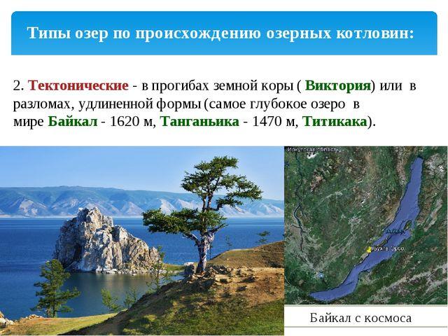 Типы озер по происхождению озерных котловин: 2.Тектонические- в прогибах зе...