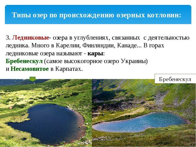 Типы озер по происхождению озерных котловин: 3.Ледниковые- озера в углублени...
