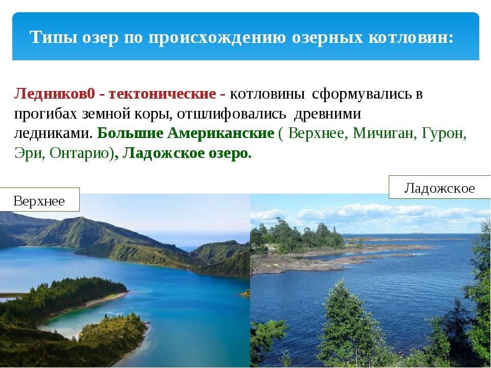 Типы озер по происхождению озерных котловин: Ледников0 - тектонические -котл...