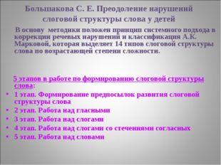 Большакова С. Е. Преодоление нарушений слоговой структуры слова у детей В осн