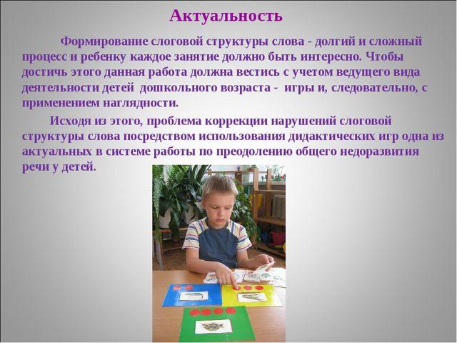Актуальность Формирование слоговой структуры слова - долгий и сложный процесс...