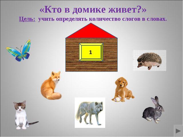 «Кто в домике живет?» Цель: учить определять количество слогов в словах. 1