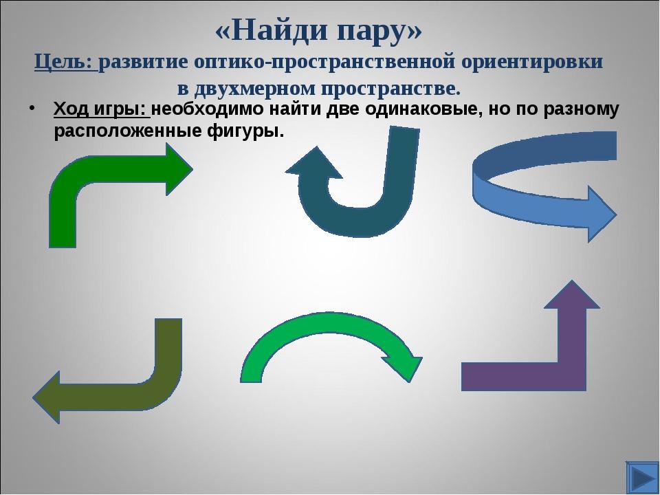 «Найди пару» Цель: развитие оптико-пространственной ориентировки в двухмерном...