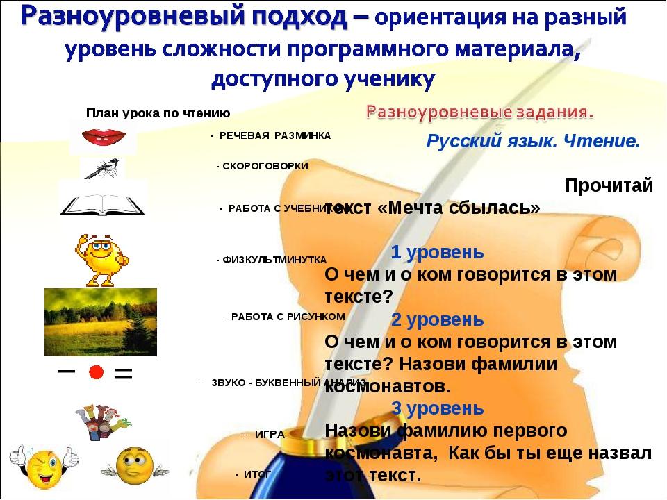 План урока по чтению - РЕЧЕВАЯ РАЗМИНКА - СКОРОГОВОРКИ - РАБОТА С УЧЕБНИКОМ...