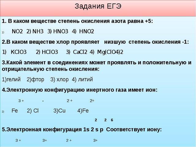 Задания ЕГЭ 1. В каком веществе степень окисления азота равна +5: NO2 2) NH3...