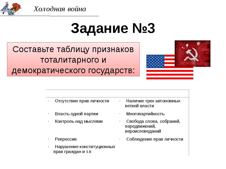 Холодная война Задание №3 Составьте таблицу признаков тоталитарного и демокра...