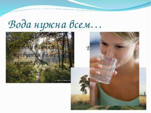 Вода нужна всем… Ее пьют поля и леса Человеку в сутки требуется более 2-х лит