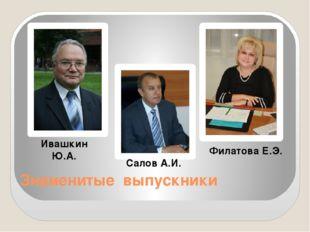 Знаменитые выпускники Ивашкин Ю.А. Салов А.И. Филатова Е.Э.