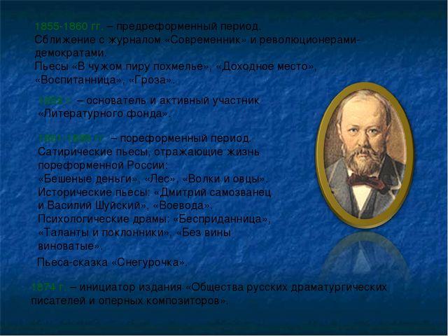 1855-1860 гг. – предреформенный период. Сближение с журналом «Современник» и...